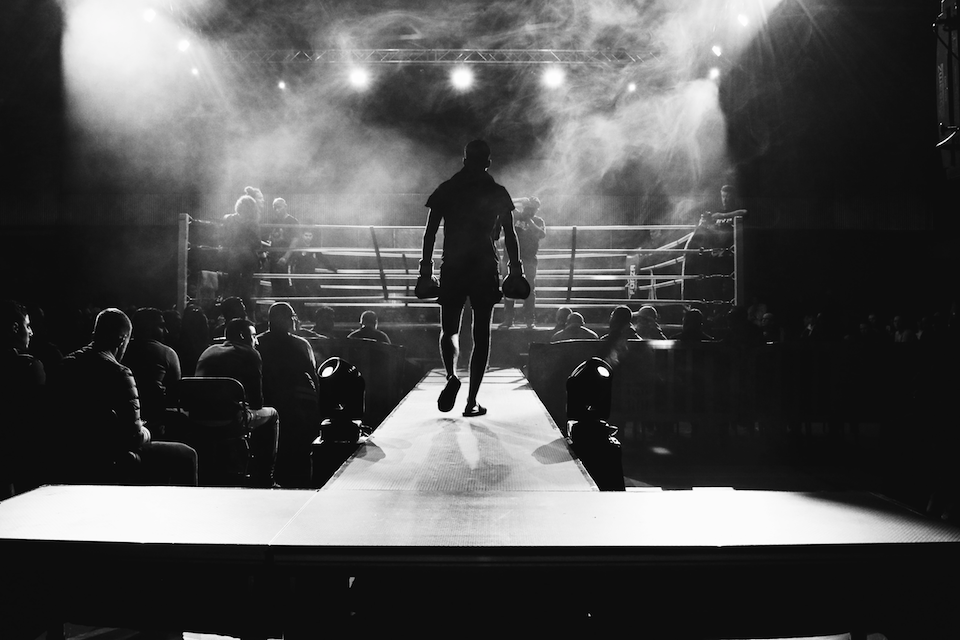 Boxer walking into the boxing ring