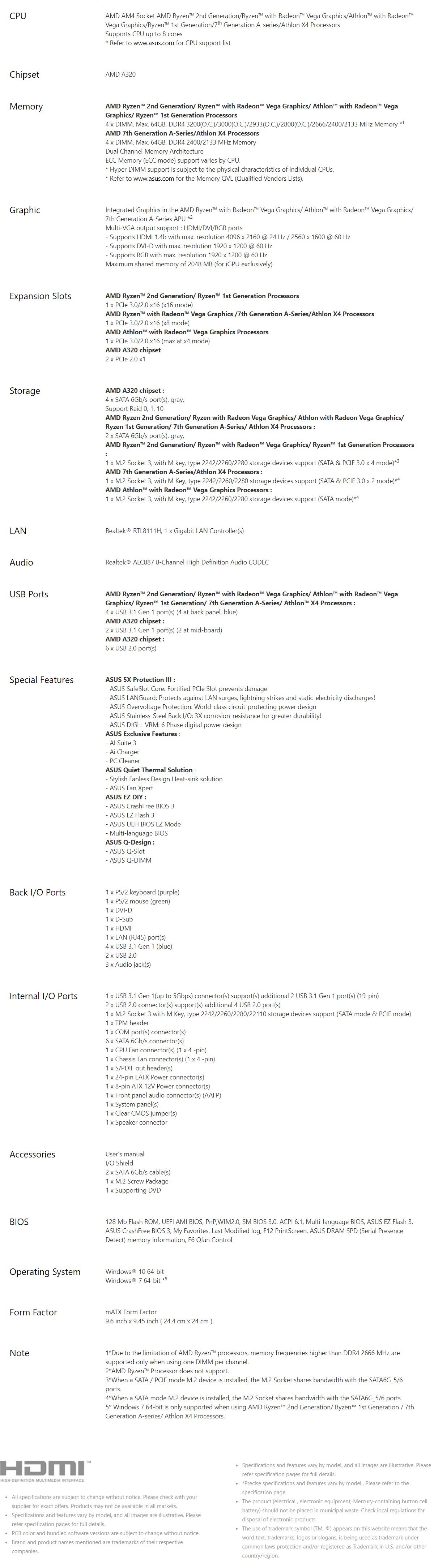 Asus PRIME A320M-A/CSM MATX Gaming Motherboard