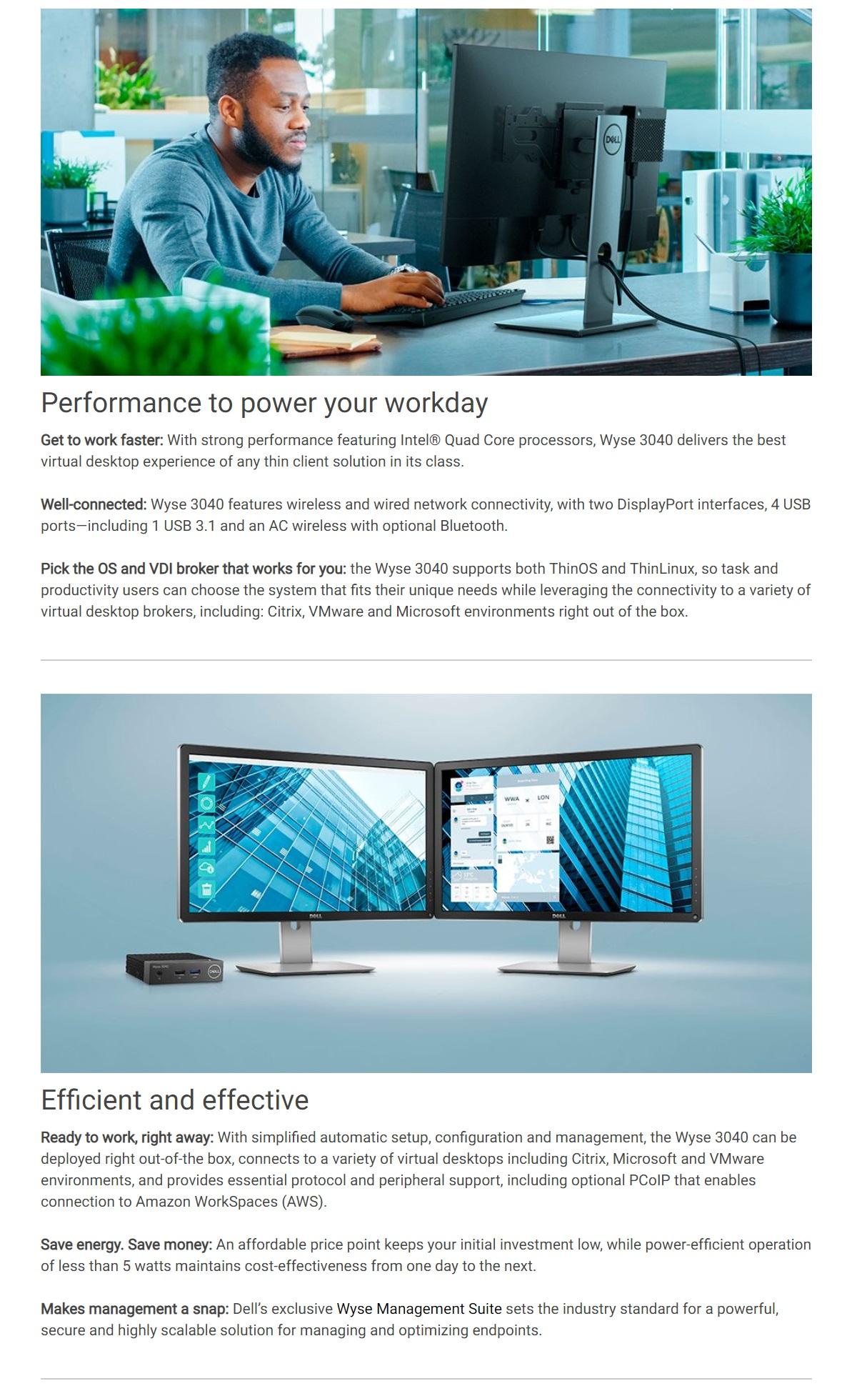 Dell Wyse 3040 Thin Client Atom x5-Z8350 2GB 8GB ThinOS Desktop PC