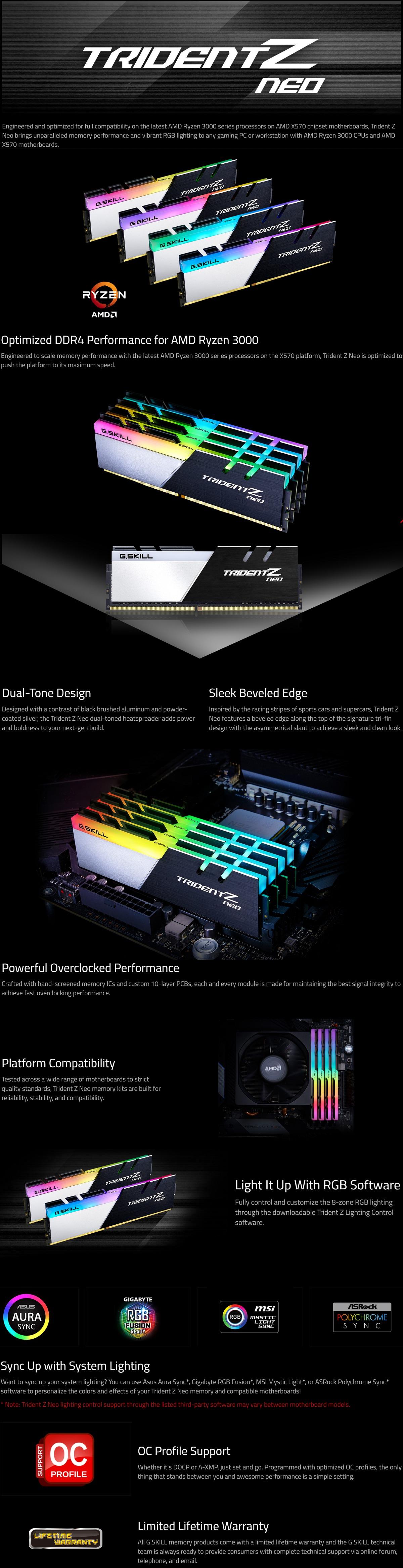 G Skill Trident Z Neo 32GB (2x16GB) 3000MHz DDR4 Desktop Memory Kit