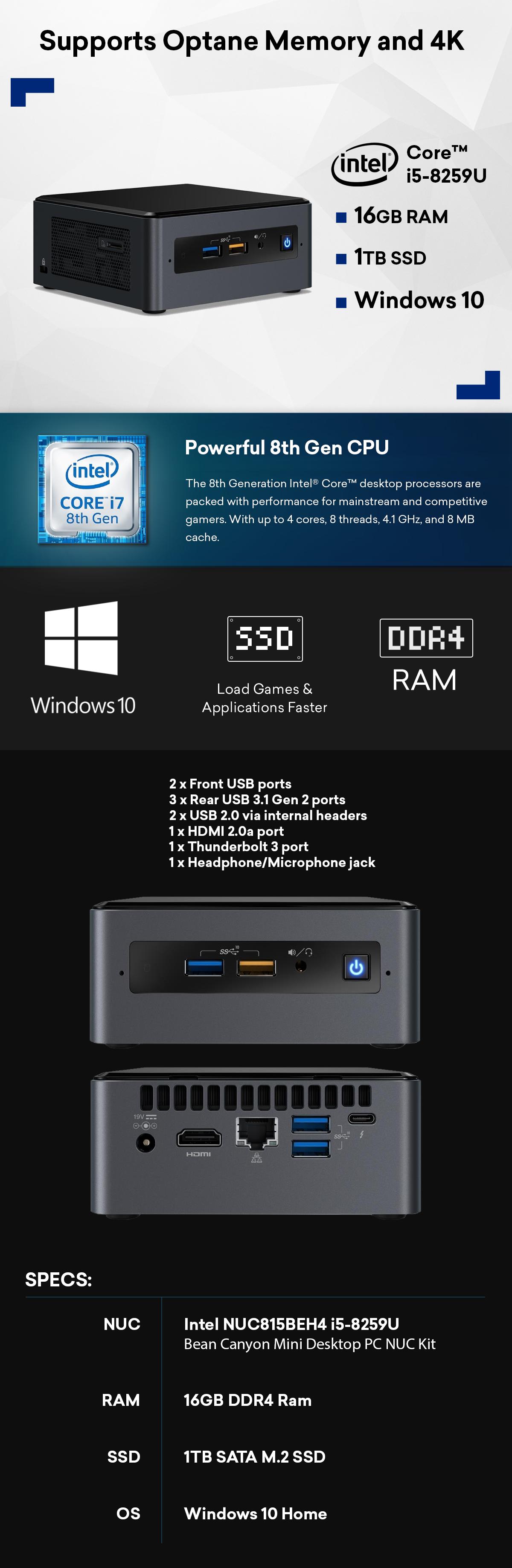 Intel Nuc i5 16GB 1TB WiFi Thunderbolt 3 Windows 10 Home PC System