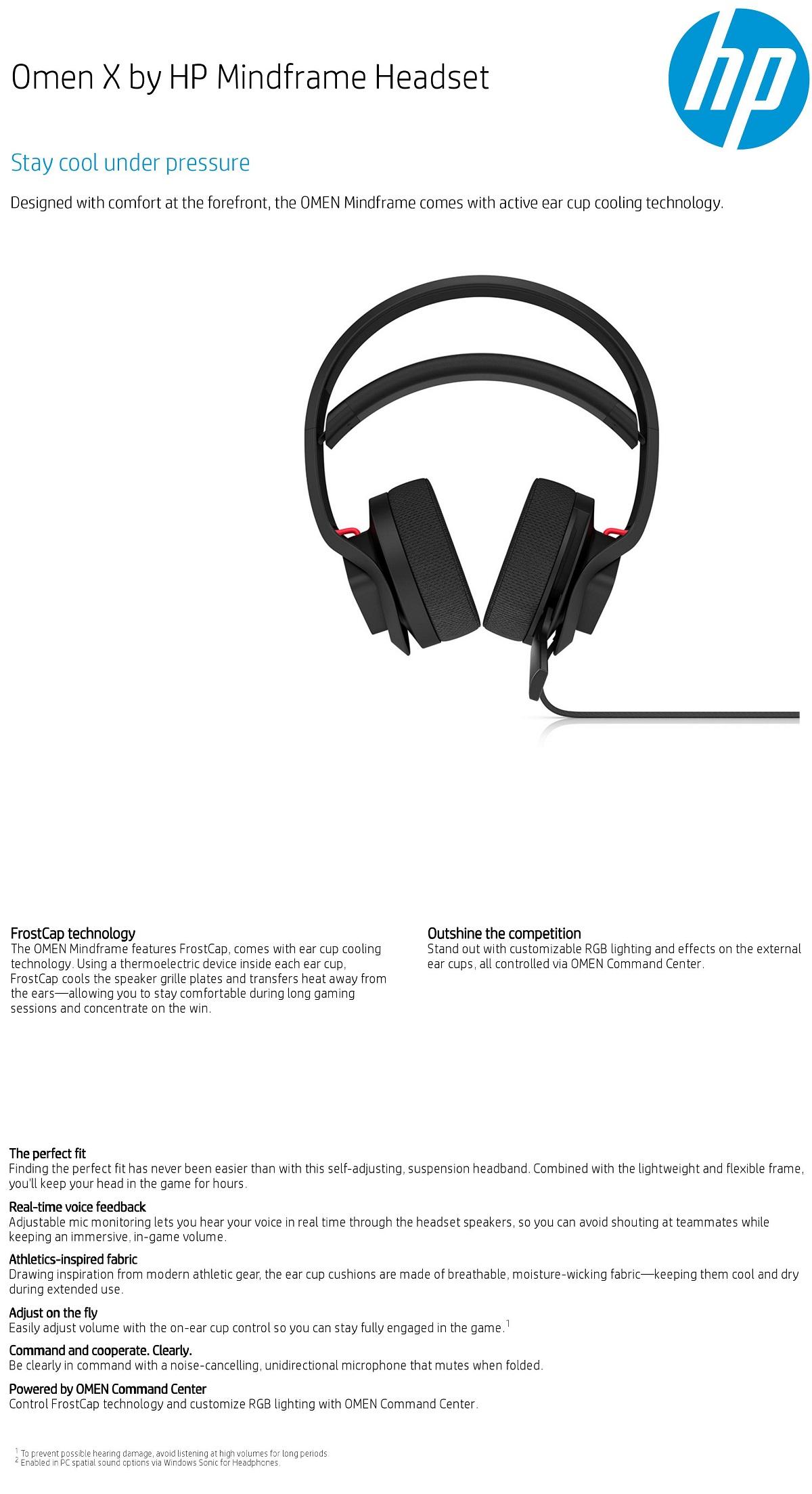 Details about HP OMEN X Mindframe Surround Sound 7 1 USB Gaming Headset  Black/Red RGB Frostcap