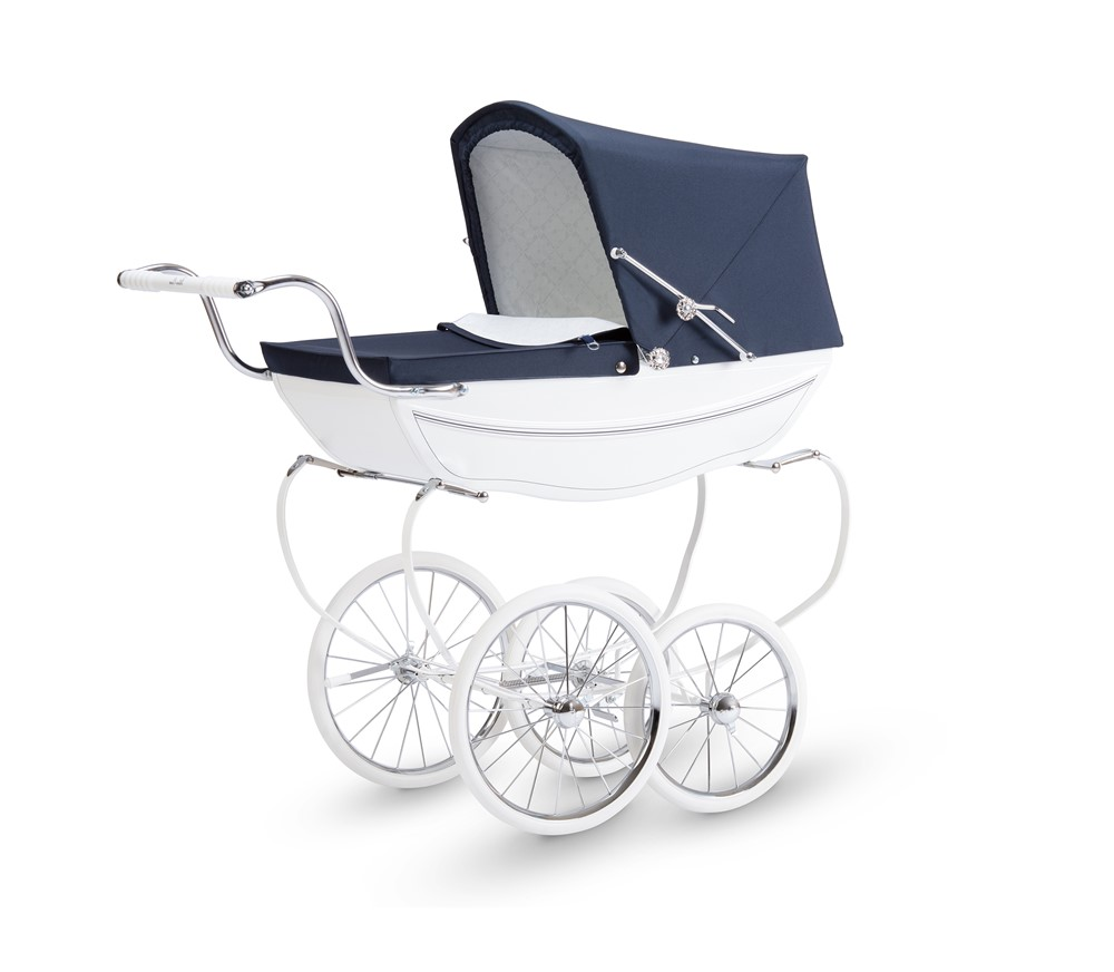 Oberon Doll's Pram White/Navy