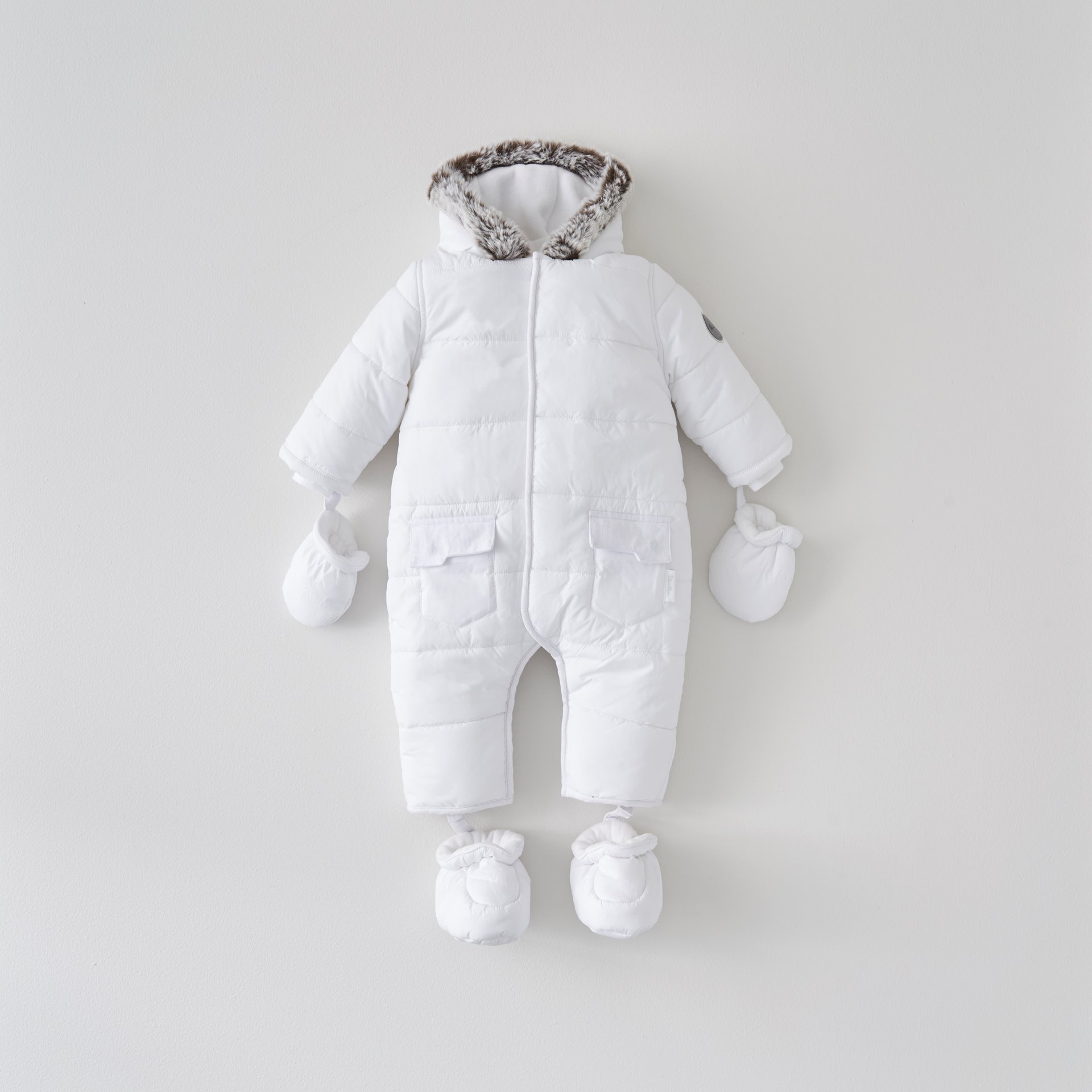 White Quilted Pramsuit 3-6 Months