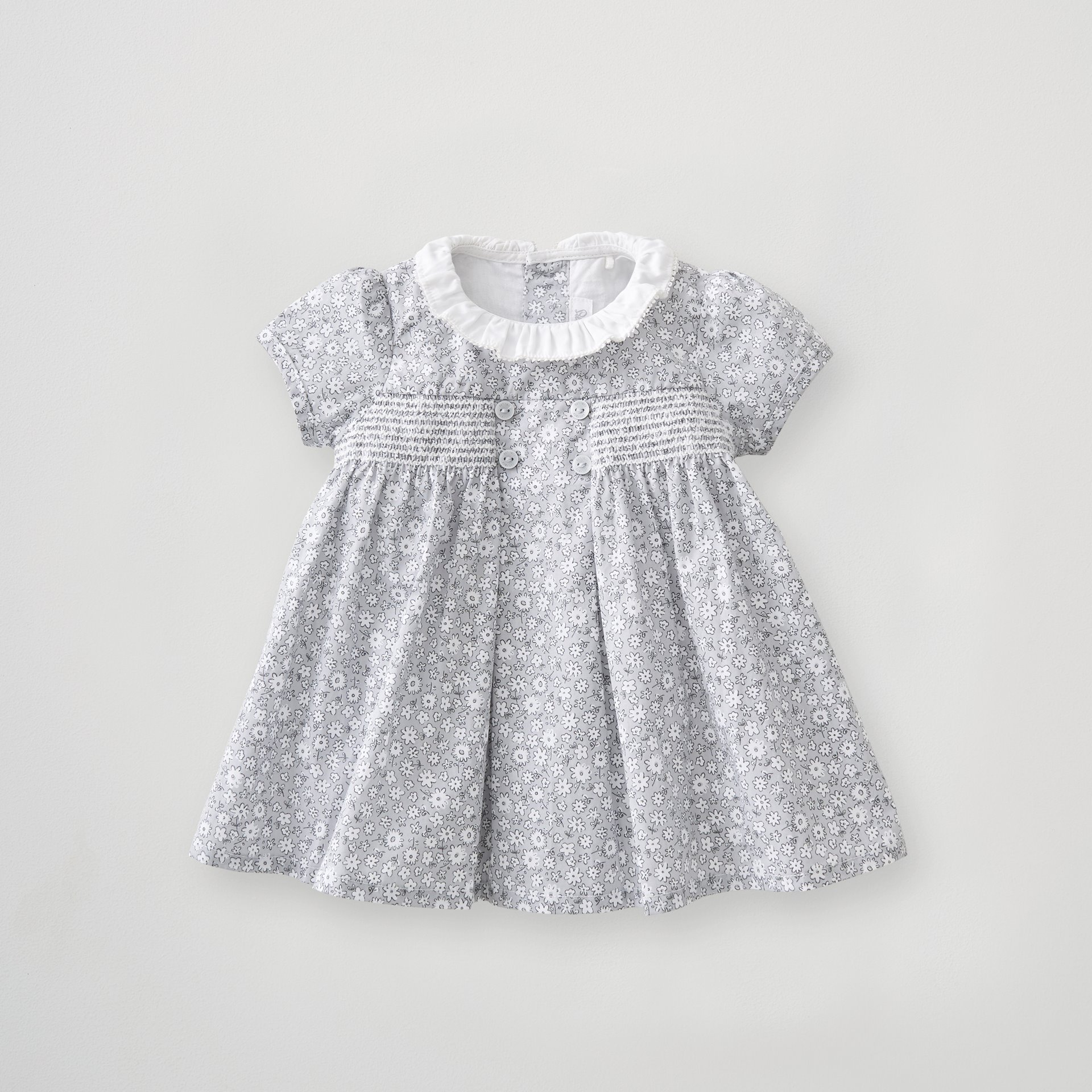 Girls Floral Smock Button Dress 0-3 Months