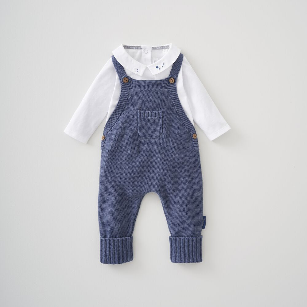 Knitted Dungaree & Bodysuit Set 0-3 Months