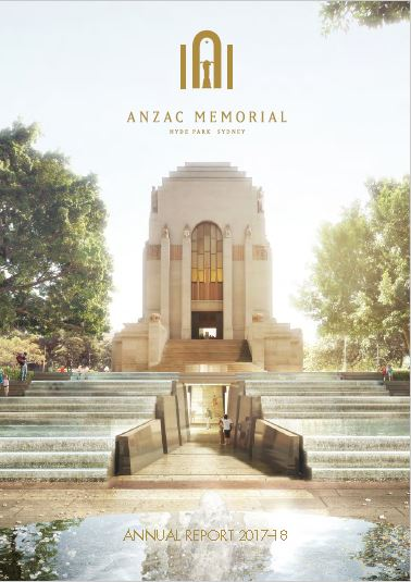 The cover of the Memorial's 2018 Annual Report featuring the new Cascade and accessible entrance into the Memorial's Centenary Extension