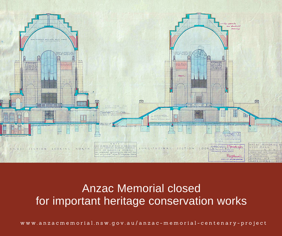 Notice: Anzac Memorial closed for important heritage conservation works