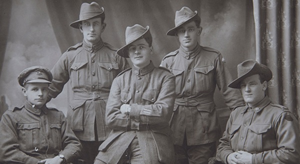 A studio portrait of unidentified First World War soldiers