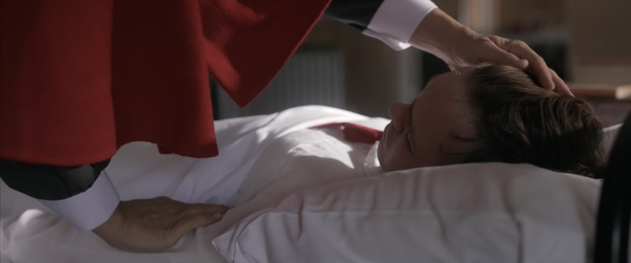 A clip depicting a nurse tending to her patient from the short film that introduces the Devoted Service workshop