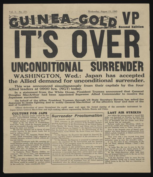 Guinea Gold - a 4-page printed newspaper was published daily from November 1942 to June 1946 Australian Soldiers with newspaper experience wrote world news stories by taking notes from shortwave radio bulletins.