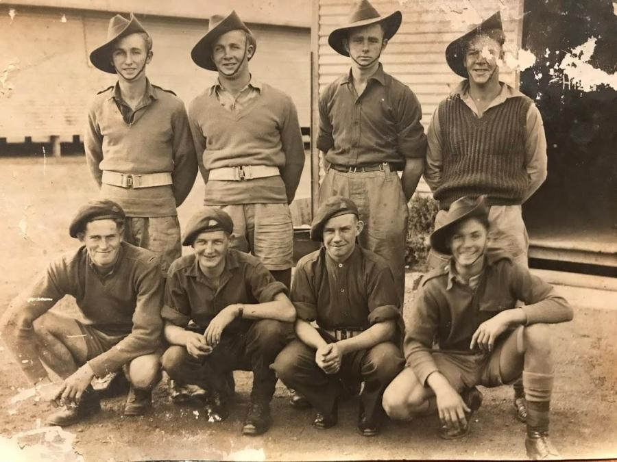Photo of Henry Charles Haskew (bottom left), 2nd/9th Commando Squadron, 2nd Australian Imperial Force.