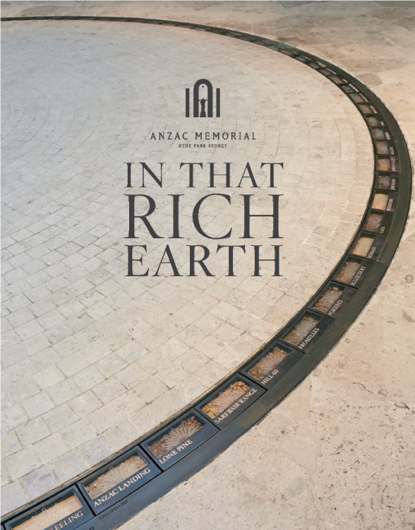 Cover art featuring the ring of soil samples from the 100 sites of military significance set in the Hall of Service