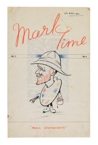 A caricature of Major de Crespigny adorns the cover of the 6th edition of camp magazine 'Mark Time'