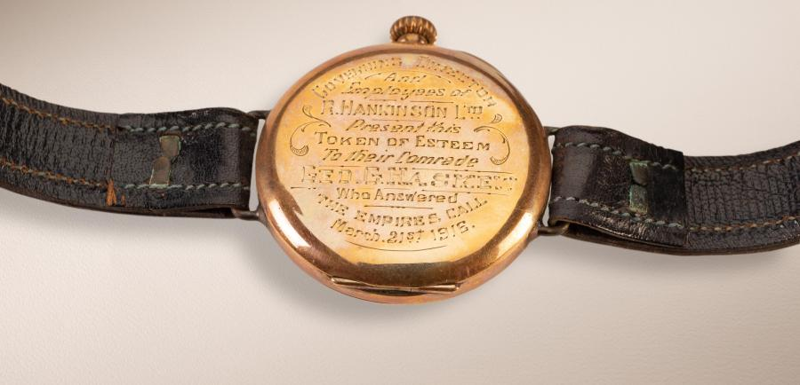 Engraved wristwatch belonging to Sgt George Haskew, presented to him by his employer and fellow workers in Narrandera upon his enlistment in 1916.