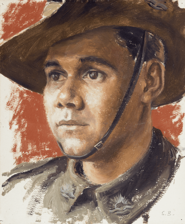 Official war artist Stella Bowen had Private David Harris sit for this portrait in London while he waited to return home (AWM Art 26277) Wounded by shrapnel in Crete in May 1941, Harris had suffered four years in German prison and labour camps before being liberated. He was released from Stalag VIII-B in Germany in May 1945, but it was two months before transport could be found.