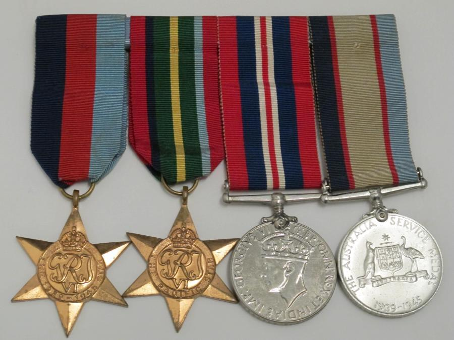 These medals, including the Pacific Star (the campaign medal awarded to sailors, soldiers and airmen from around the British Empire who served in the South-West Pacific Area during WWII), were awarded to Private Robertson in recognition of his service with the 58/59th Bn. Although the campaign was an Australian victory, Robertson's unit suffered a casualty rate of almost 25 per cent in the last months of the war. (Gift of Warren Robertson)
