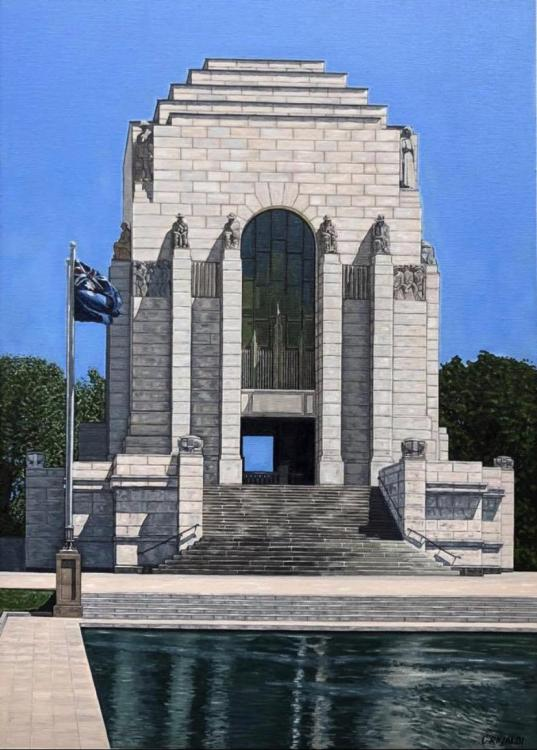 Cory's completed fine oil painting of the Anzac Memorial's northern facade and the Pool of Reflection