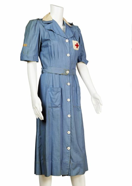 This Voluntary Aid Detachment (VAD) uniform was worn by teenage Lois Homan from Punchbowl. VADs played a vital role supporting military nurses and helping with the repatriation of Australia's sick and wounded prisoners of war.