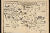 This map marks where the Navy, Land and Air Forces fought during the war. It was featured in the Department of Information booklet 'While You Were Away; A Digest of Happenings In Australia 1940 – 1945'