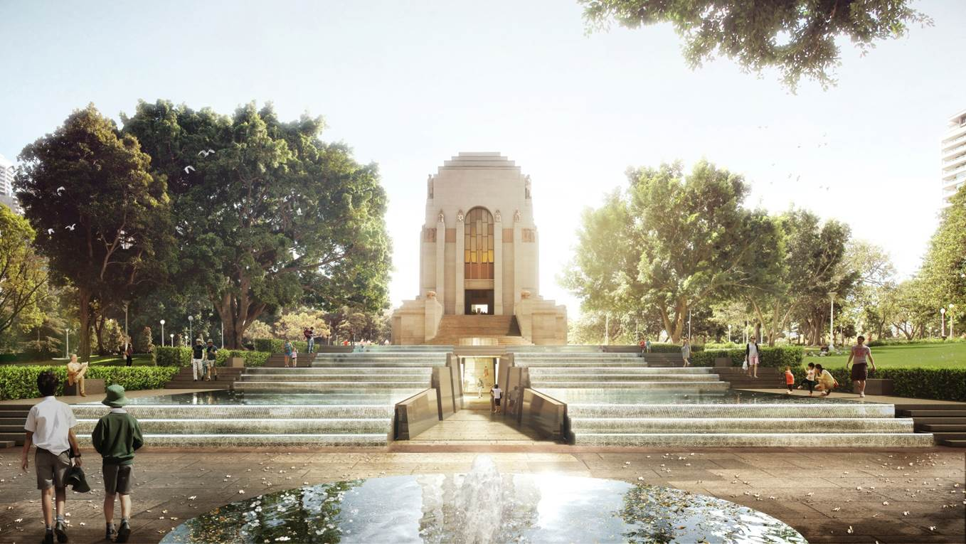 Architectural render of the Anzac Memorial and the Cascade which visitors can travel through to enter the Centenary Extension - courtesy Johnson Pilton Walker