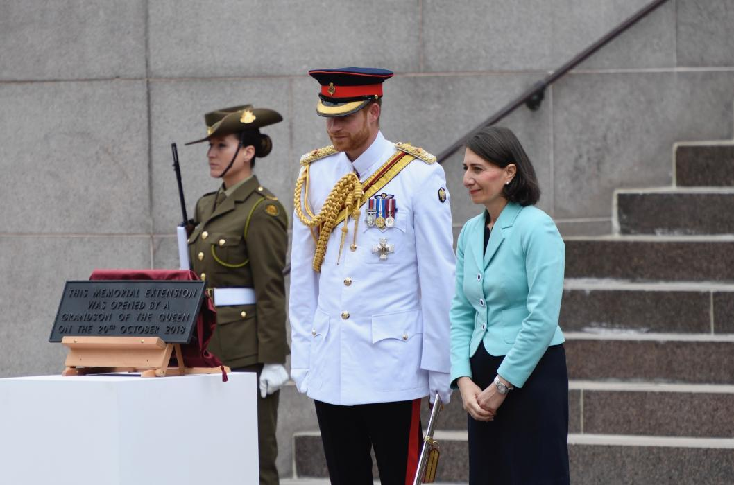 HRH Prince Henry, Duke of Sussex and the Premier of NSW after the unveiling of the plaque to mark the completion of the Centenary Extension