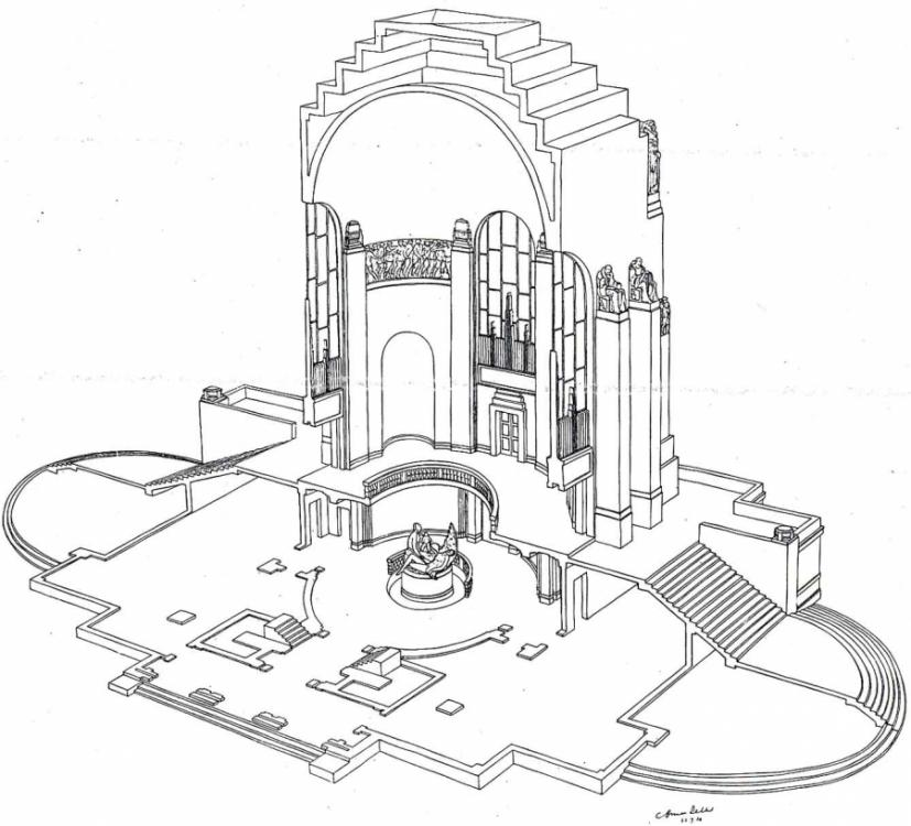 "Dellit's ""Isometric Sectional View"" submitted with his entry  - Courtesy Mitchell Library, State Library of NSW"
