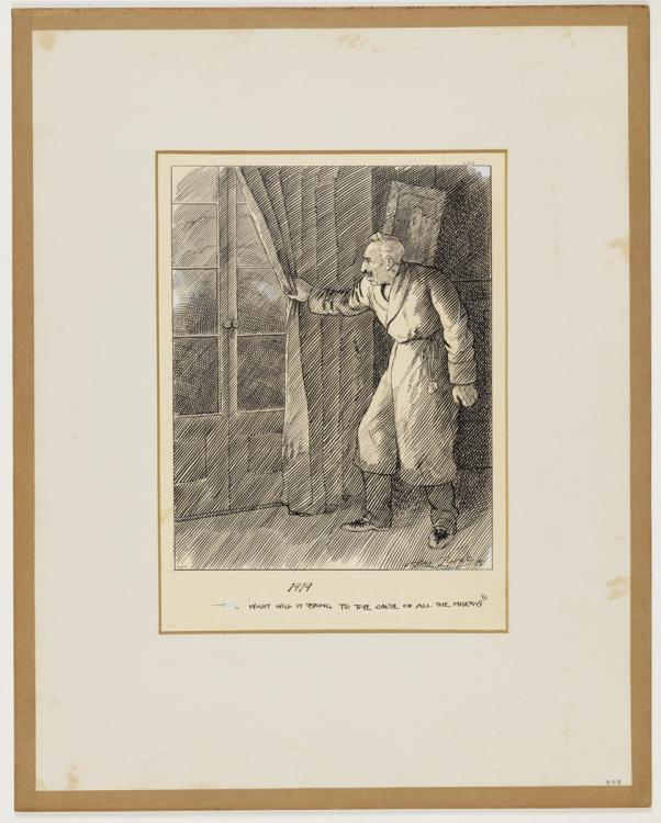 """The cartoon is of a gentleman dressed in a dressing gown, pulling back a curtain to look through a set of French doors. A caption under the cartoon says: """"1919; What will it bring to the cause of all our misery?' - courtesy  Mitchell Library, State Library of NSW"""