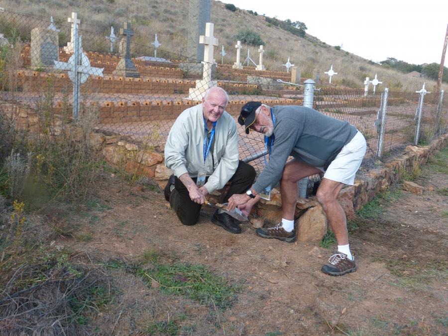 Ross Taylor (left) and John Elton (right) collecting soil from the Diamond Hill Military Cemetery in South Africa. Photograph by John Howells.