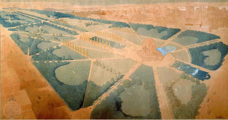 Dellit's aerial perspective of his design from the south-western corner of Hyde Park, showing the pool of reflection on the northern side and the cascading water feature he planned for the southern side.  - Courtesy Mitchell Library, State Library of NSW