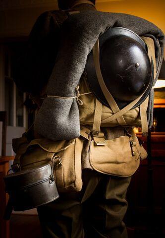 British 1908 pattern webbing equipment in marching order