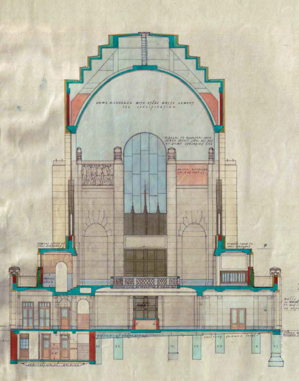 Dellit's hand-coloured cross-section (looking north) - Courtesy Office of the NSW Government Architect