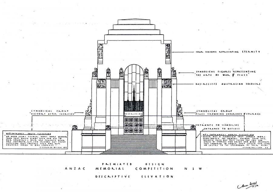 """Dellit's """"Descriptive Elevation"""" - a labelled diagram that explained the statuary."""