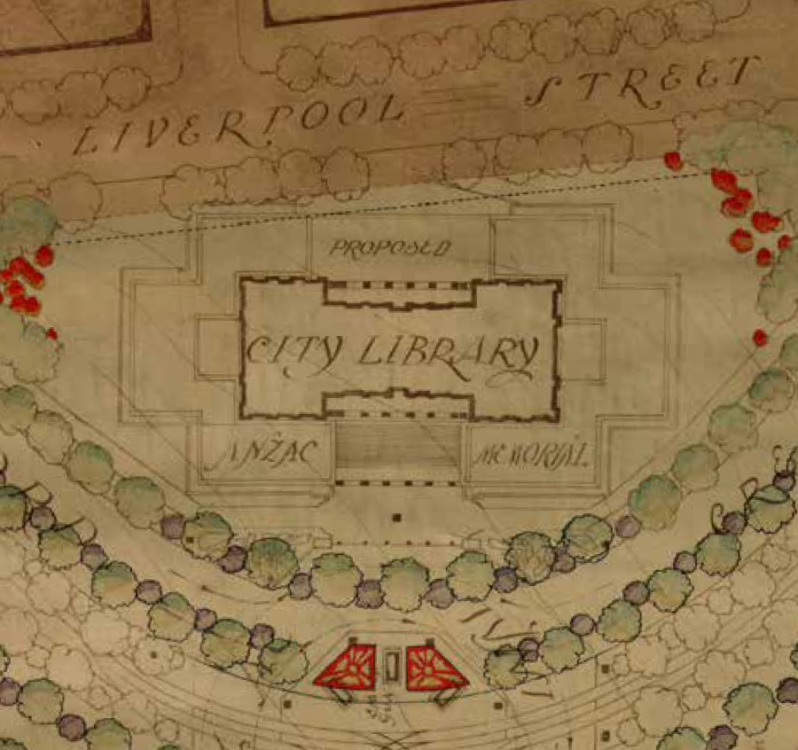 Detail from Norman Weekes's winning design for the remodelling of Hyde Park suggesting the southern end of Hyde Park south as the site for the Anzac Memorial - courtesy City of Sydney Archives
