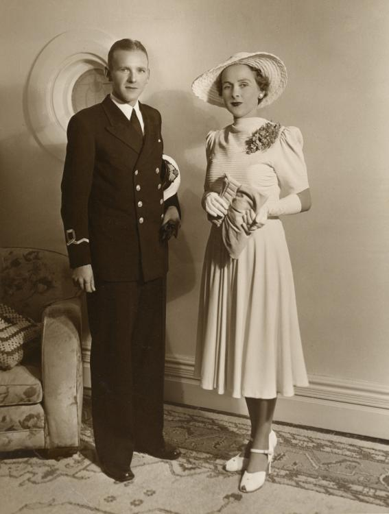 Lieutenant Bruce Harvey RANVR and Cecilie on their wedding day, 1941. GIFT OF CECILIE HARVEY