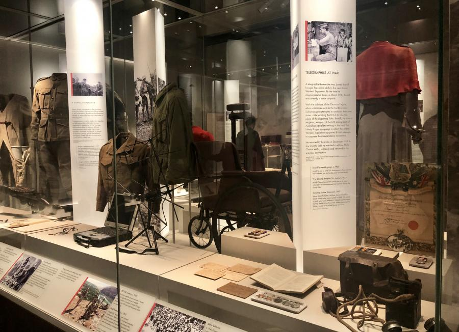 One of the Army showcases in the Centenary Exhibition