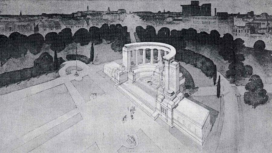 Third prize-winner Peter A. Kaad designed a semicircular colonnade enclosing a sculpture of victory and supporting a long inscription. At either side of the columns were buttresses listing the battlegrounds on which Australians had fought (Architecture magazine, 1 August 1930).