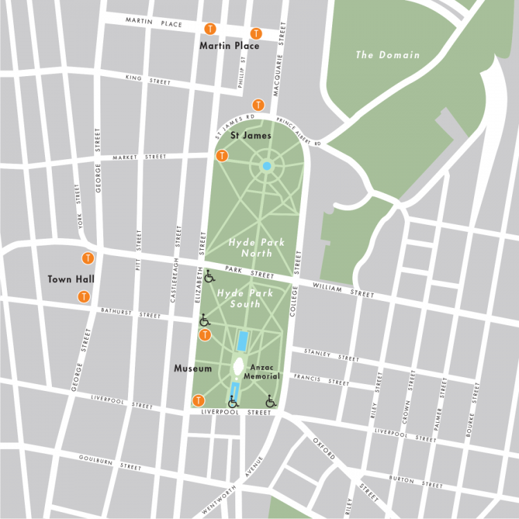 Street map marking the safe and equitable entrances to Hyde Park South in proximity to the Anzac Memorial.  Other nearby stations are, St James, Martin Place and Town Hall.