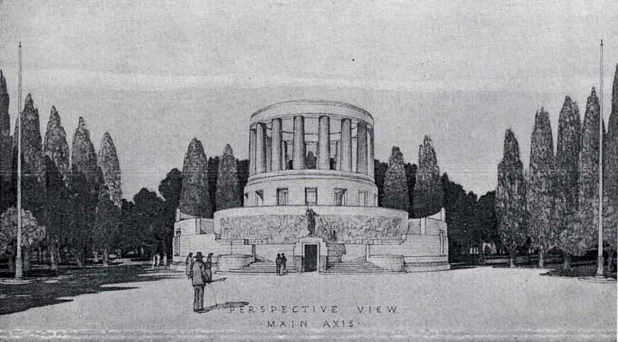 The second prize design by John D. Moore was aesthetically appealing to the judges, but judged to be less accommodating of the required office space and lacking the qualities expected in a memorial (Architecture magazine, 1 August 1930).