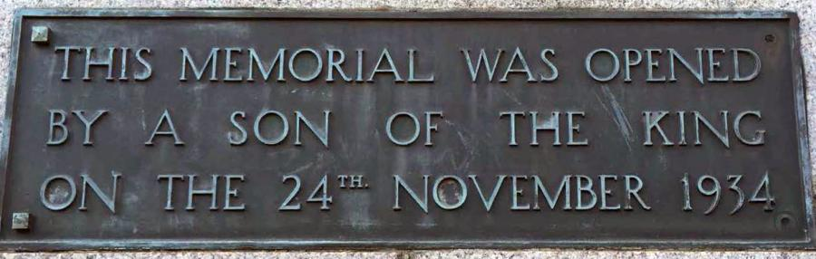 The plaque marking the opening of the Memorial, 24 November 1934