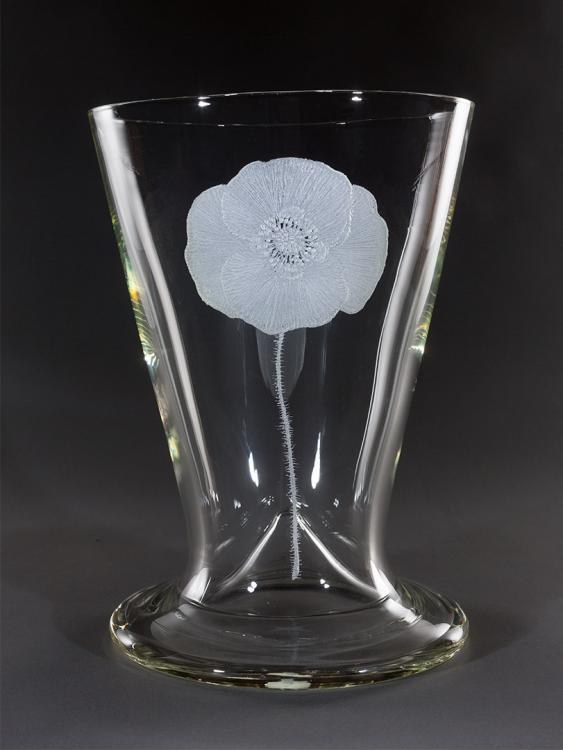 Glass vase displaying a hand-etched design of the Flanders Poppy