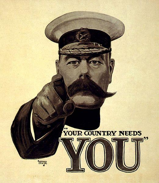 A 1914 recruitment poster featuring an illustration of General Kitchener