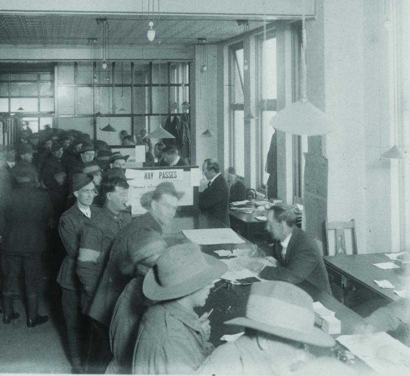 Returned servicemen queued inside the Repatriation Office in June 1919 to get information on their benefits