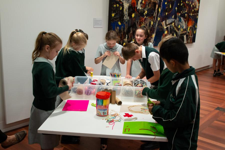 Stage 2 students making artworks during the Rosemary for Remembrance workshop