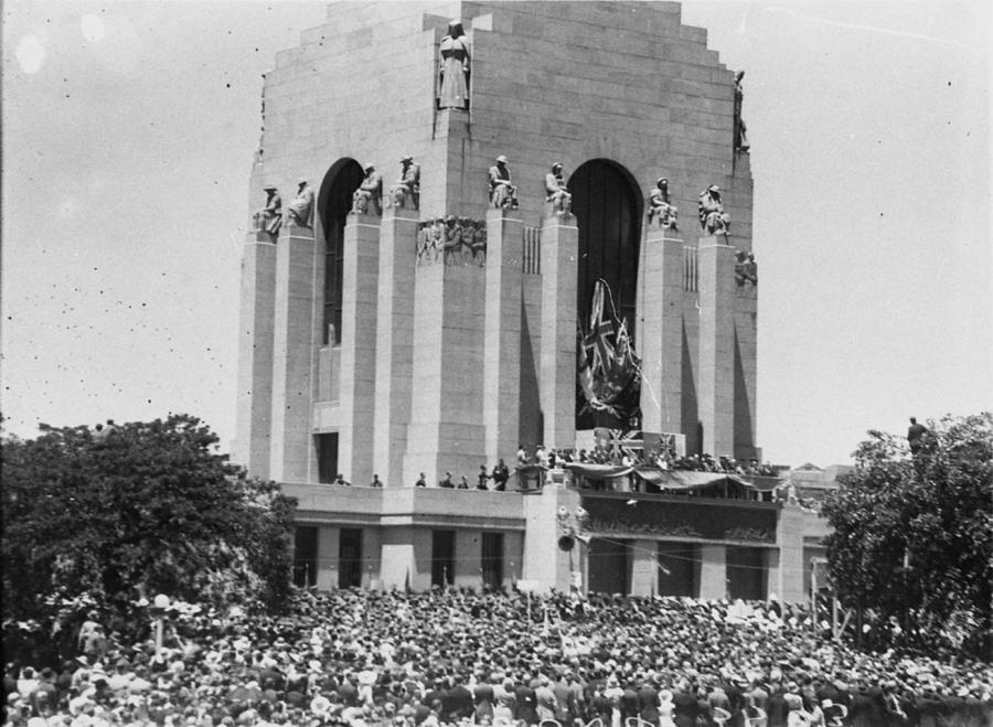 View of the crowd gathered on the north -western side of the Memorial at the 1934 opening ceremony