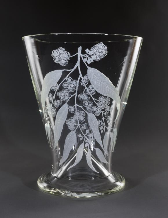 Glass vase displaying a hand-etched design of the Sydney Blue Gum