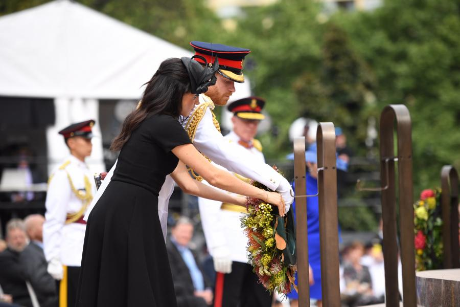 The Duke and Duchess lay their wreath