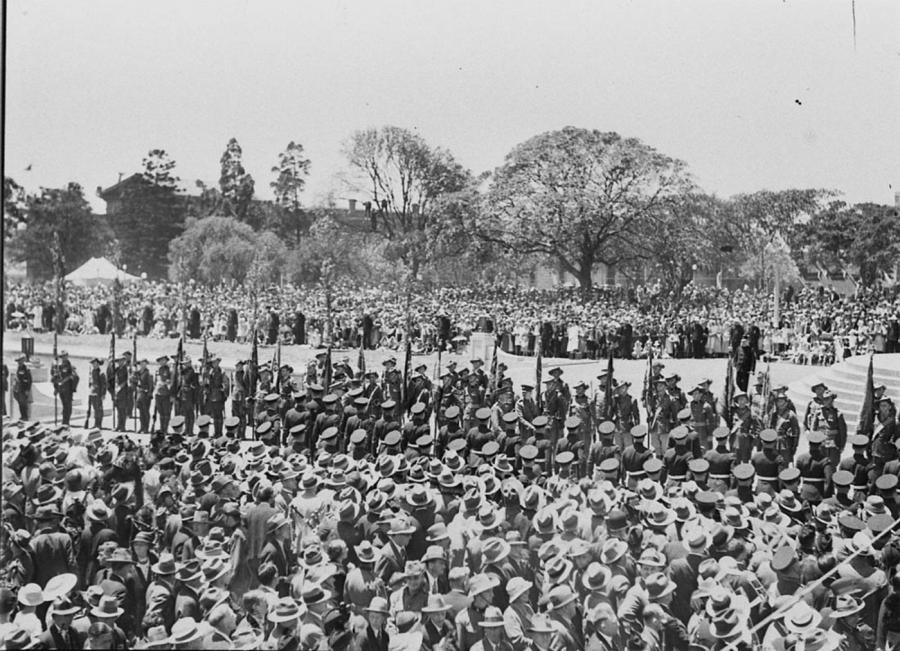 Uniformed troops formed up on the Memorial's northern forecourt at the commencement of the 1934 opening ceremony
