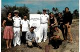 Dignitaries pose with soil collected from the old Dili World War II airfield in Dili, Timor Leste.