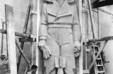 Otto Steen with the air force officer in clay. Courtesy Australian War Memorial